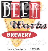 Vector of Retro Beer Works Brewery Advertisement by Andy Nortnik