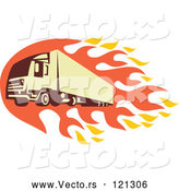 Vector of Retro Big Rig Truck with Flames by Patrimonio