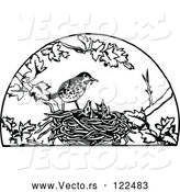 Vector of Retro Black and White Bird Feeding Its Chicks in a Nest by Prawny Vintage
