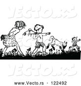 Vector of Retro Black and White Boy and Girl Picking Flowers by Prawny Vintage