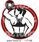 Vector of Retro Black and White Fit Lady Working out with a Dumbbell in a Red Circle by Patrimonio