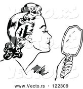 Vector of Retro Black and White Lady Using a Hand Mirror by Prawny Vintage