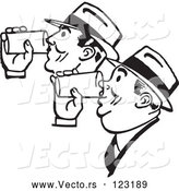 Vector of Retro Black and White Men Drinking Beer Together by BestVector