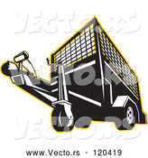 Vector of Retro Black and White Trailer Outlined in Yellow by Patrimonio