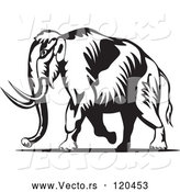 Vector of Retro Black and White Walking Wooly Mammoth by Patrimonio