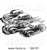 Vector of Retro Black Lineart Cars Taking off in a Race by BestVector