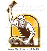 Vector of Retro Butcher Cutting a Ham over an Arch of Rays by Patrimonio