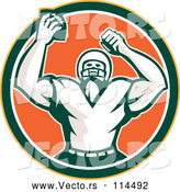 Vector of Retro Cheering American Football Player in a Yellow Green White and Orange Circle by Patrimonio