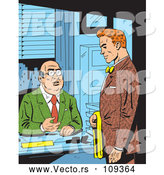 Vector of Retro Comic Styled Red Haired White Business Man Meeting with His Boss by Clip Art Mascots