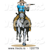 Vector of Retro Cowboy Shooting on Horseback by Patrimonio