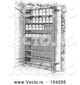 Vector of Retro Cupboard Shelves with Canned Goods in Black and White by Picsburg