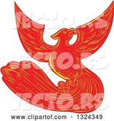 Vector of Retro Engraved or Sketched Phoenix Bird Rising by Patrimonio