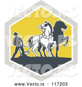 Vector of Retro Farmer and Horses Plowing a Field in a Diamond by Patrimonio