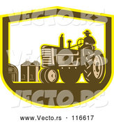 Vector of Retro Farmer Driving a Tractor on a Farm in a Shield by Patrimonio
