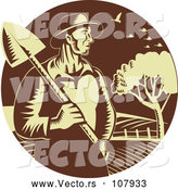 Vector of Retro Farmer Guy Holding a Shovel Against Farmland in a Brown and Yellow Circle by Patrimonio
