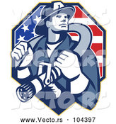 May 4th, 2018: Vector of Retro Fire Fighter Guy Holding a Hose on His Shoulders over an American Flag by Patrimonio