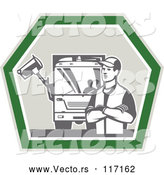 Vector of Retro Garbage Guy and Truck in a Shield by Patrimonio
