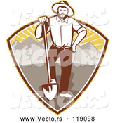 Vector of Retro Gold Miner Guy Standing with a Shovel in a Mountain and Sunshine Shield by Patrimonio