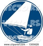 Vector of Retro Guy Sailing in a Blue and White Circle by Patrimonio