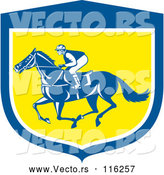 May 4th, 2018: Vector of Retro Jockey Racing a Horse in a Blue White and Yellow Shield by Patrimonio