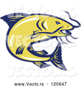 April 30th, 2018: Vector of Retro Jumping Yellow and Blue Catfish by Patrimonio
