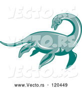 Vector of Retro Loch Ness Monster Pliosaur Dinosaur by Patrimonio