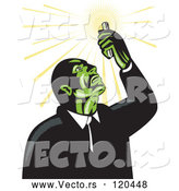 Vector of Retro Mad Scientist Looking up at a Test Tube by Patrimonio