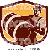 Vector of Retro Male Bartender Carrying a Keg in a Brown and Orange Shield by Patrimonio