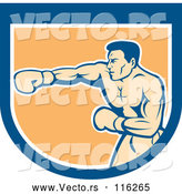 Vector of Retro Male Boxer Punching in a Blue White and Orange Shield by Patrimonio