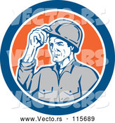 Vector of Retro Male Builder Tipping His Hardhat in a Blue and Orange Circle by Patrimonio
