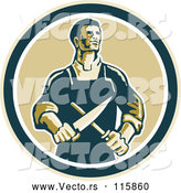 Vector of Retro Male Butcher Sharpening a Knife in a Circle by Patrimonio