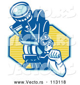Vector of Retro Male Cameraman Filming in a Blue and Yellow Hexagon by Patrimonio