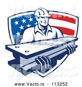Vector of Retro Male Construction Worker Carrying an I Beam and Emerging from an American Flag Shield by Patrimonio