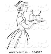 Vector of Retro Nurse Carrying a Tray with Medicine in Black and White by Picsburg