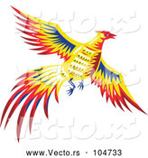Vector of Retro Pheasant Bird Flying by Patrimonio