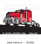 Vector of Retro Red Big Rig Truck by Patrimonio