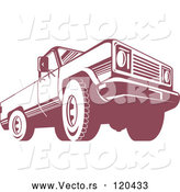 Vector of Retro Red Pickup Truck from the Low Front by Patrimonio