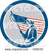 Vector of Retro Revolutionary Soldier with an American Betsy Ross Flag in a Blue White and Gray Circle by Patrimonio