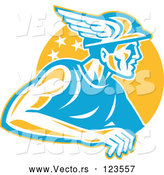 Vector of Retro Roman God Mercury or Greek God Hermes with a Winged Hat over an Orange Circle by Patrimonio