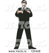 April 30th, 2018: Vector of Retro Secret Agent Standing with Folded Arms by Patrimonio