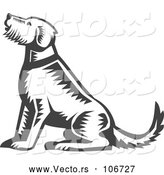 Vector of Retro Sitting Welsh Terrier Dog by Patrimonio