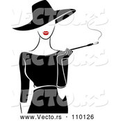 Vector of Retro Stylish Lady Wearing a Hat and Black Dress, Smoking a Cigarette with a Long Filter by BNP Design Studio