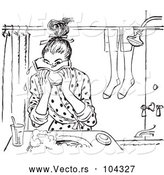 Vector of Retro Teen Girl Washing Her Face in Black and White by Picsburg