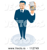 Vector of Retro White Male Secret Agent Holding up an Id Badge by Patrimonio