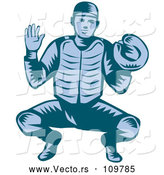 Vector of Retro Woodcut Blue Baseball Catcher in a Squat Position by Patrimonio