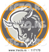 Vector of Retro Woodcut Buffalo Head in a Circle by Patrimonio