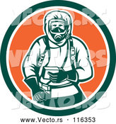 Vector of Retro Woodcut Hazchem Worker in a Circle by Patrimonio