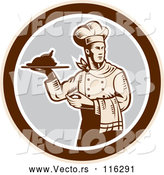 Vector of Retro Woodcut Male Chef Serving a Roasted Chicken in a Gray and Brown Circle by Patrimonio