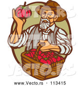 Vector of Retro Woodcut Male Farmer Holding a Basket of Tomatoes and Gazing at One in a Green and Brown Oval by Patrimonio