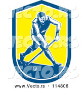 Vector of Retro Woodcut Male Field Hokey Player in a Blue White and Yellow Shield by Patrimonio